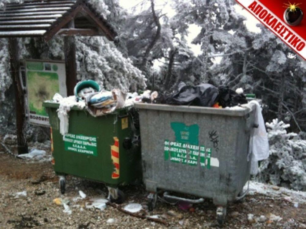 Σκουπιδότοπος στην Πάρνηθα