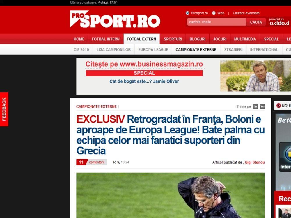 Στέλνουν Μπόλονι οι Ρουμάνοι!
