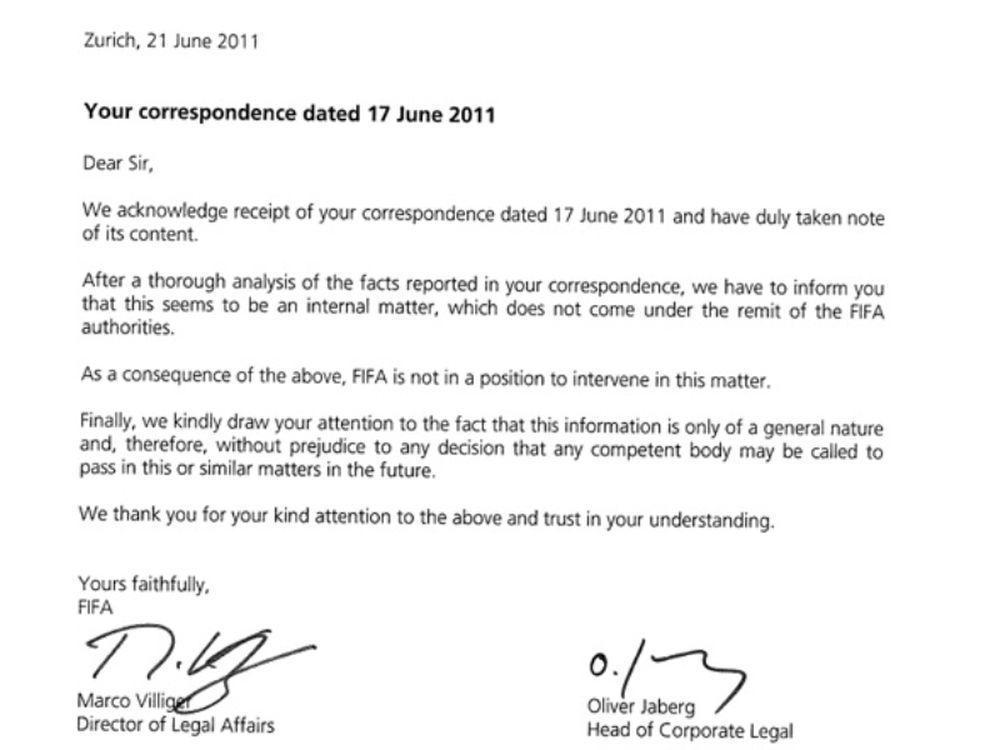 Απάντηση από FIFA
