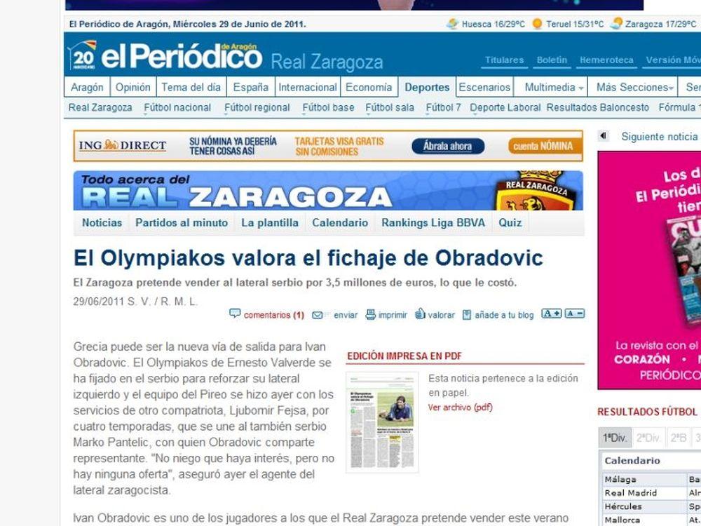 Ομπράντοβιτς για Ολυμπιακό!