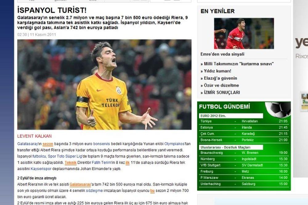 Νέα επίθεση του τουρκικού Τύπου στον Ριερα!