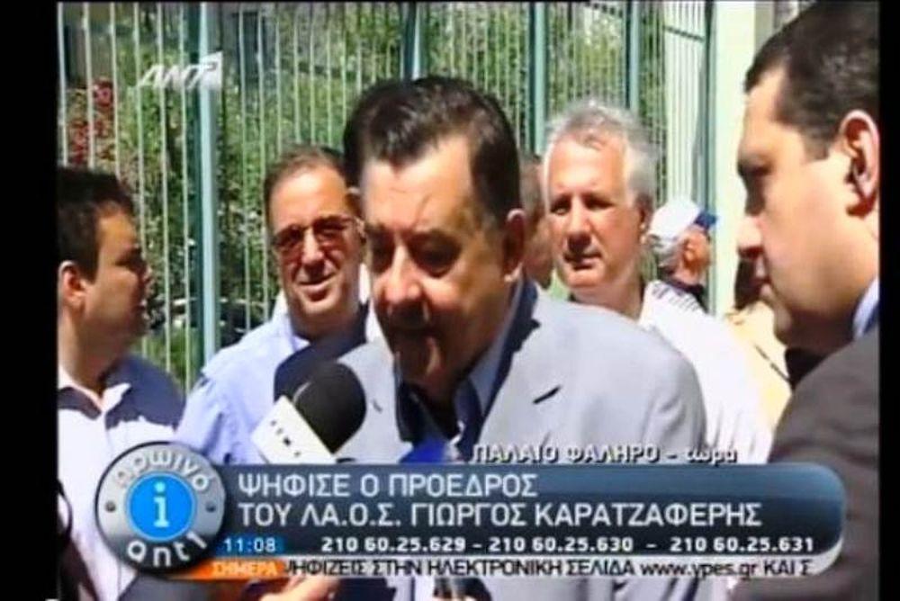 Βουλευτικές εκλογές 2012: Ψήφισε ο Γιώργος Καρατζαφέρης (vid)