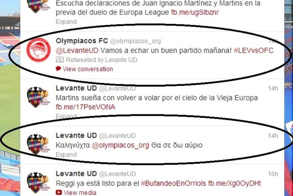Λεβάντε - Ολυμπιακός: Η ανταλλαγή ελληνοϊσπανικών ευχών στο twitter!