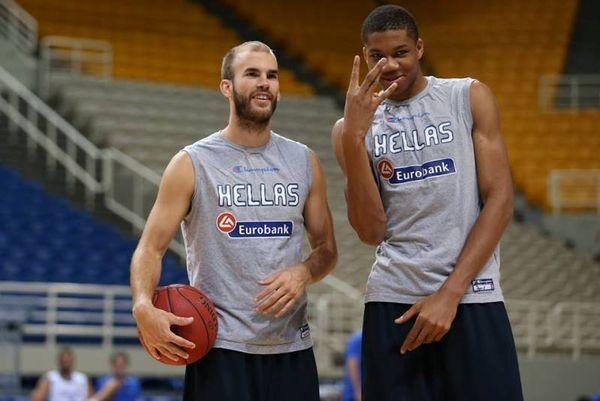 Εθνική Μπάσκετ Ανδρών: Η φιλία Καλάθη - Αντετοκούνμπο (photos)