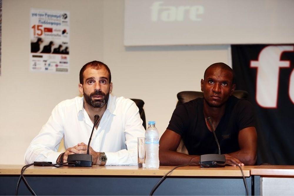 Ολυμπιακός: Κατά του ρατσισμού Αμπιντάλ και Ισά (photos)