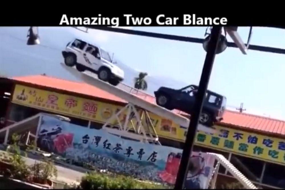 Απίστευτο: Έκαναν ισορροπία με τα αυτοκίνητα! (video)