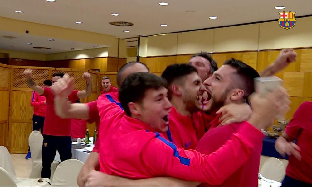 Οι τρελοί πανηγυρισμοί της ομάδας Ποδοσφαίρου Σάλας της Μπαρτσελόνα στο 6-1