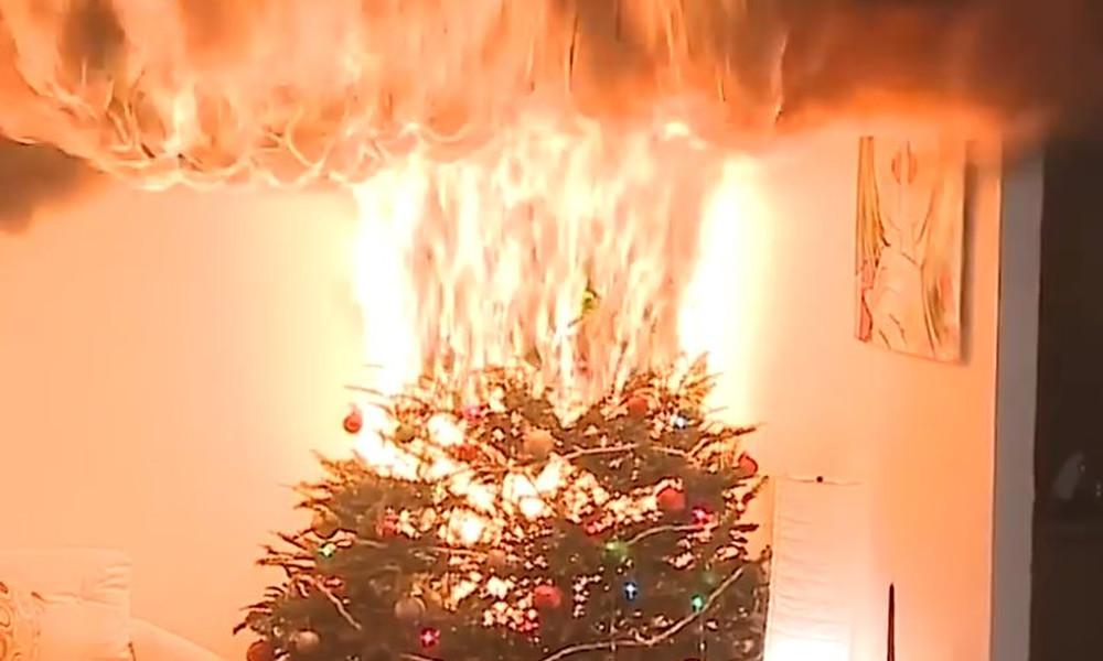 Σοκαριστικό! Χριστουγεννιάτικο δένδρο αρπάζει φωτιά σε ελάχιστα δευτερόλεπτα! (video)